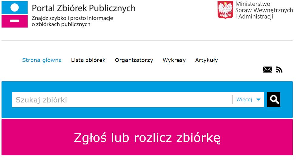 zbiórka publiczna musi być zgłoszona na portalu www.zbiorki gov.pl