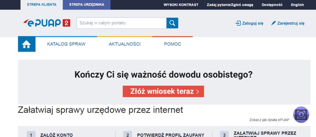 Strona główna platformy ePUAP